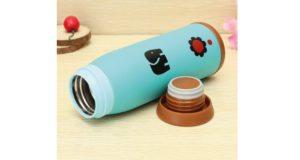 Thermosflasche für Kinder liegend hellbau offen