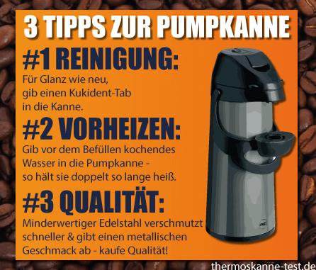 Drei Tipps zur Handhabung und Reinigung einer Pumpisolierkanne.