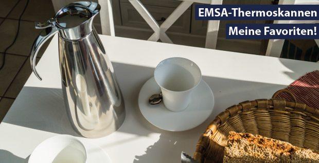 Getestete Emsa Thermoskanne auf dem Tisch.